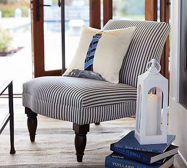 Leigh Uph Poly Sateen Ticking Stripe Armless Chair Indigo