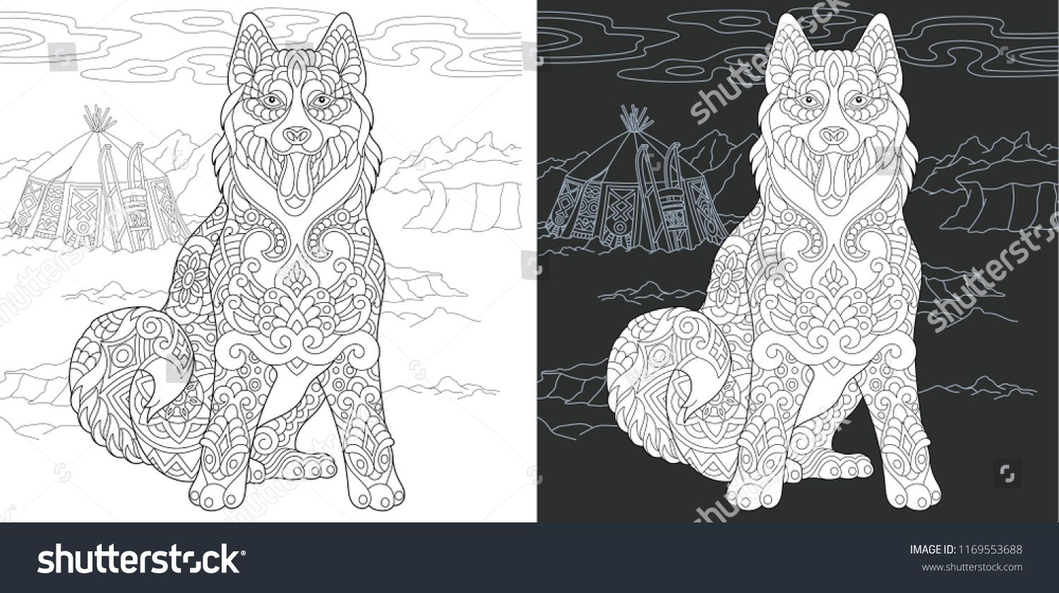 Coloring Page Coloring Book Colouring Picture With Husky Dog Drawn In Zentangle S Dog Coloring Page Coloring Pictures Of Animals Valentines Day Coloring Page [ 840 x 1500 Pixel ]