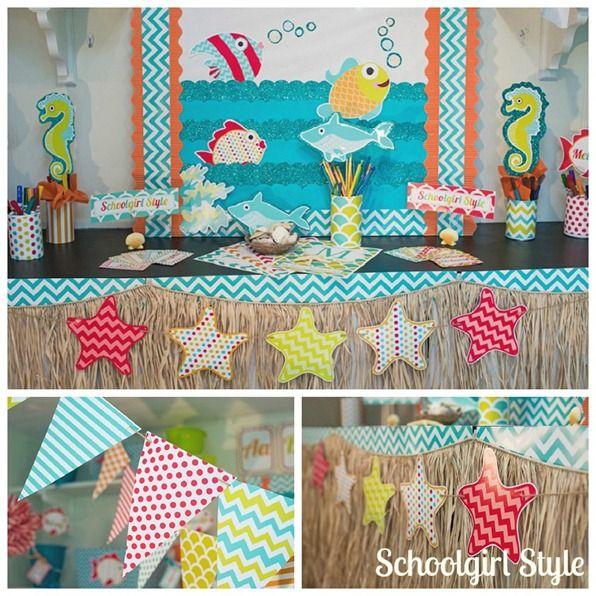 Classroom Decor Chevron : Ocean starfish beach chevron classroom decorations by