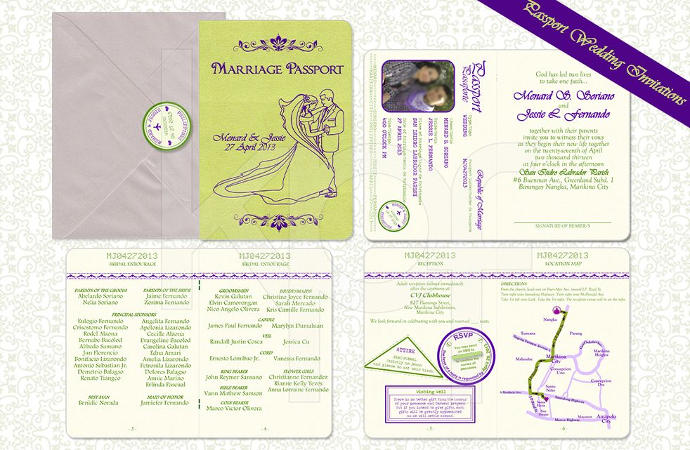 Passport Wedding Invitation – Bride and Groom 02