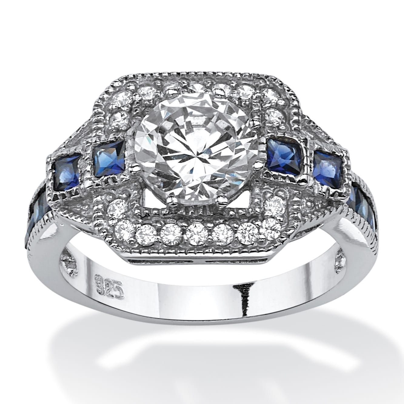 Platinum over Sterling Silver CZ and Sapphire Engagement