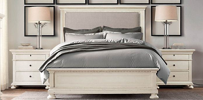 St james upholstered bed collection antiqued white - Restoration hardware bedroom furniture ...