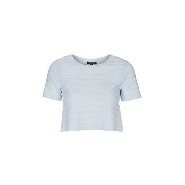 3627d6d4bab TopShop Mini Scallop Tee ($9.29) ❤ liked on Polyvore featuring tops, t- shirts, cropped, pale blue, topshop tops, mini top, mini t shirts, blue t  shirt and ...