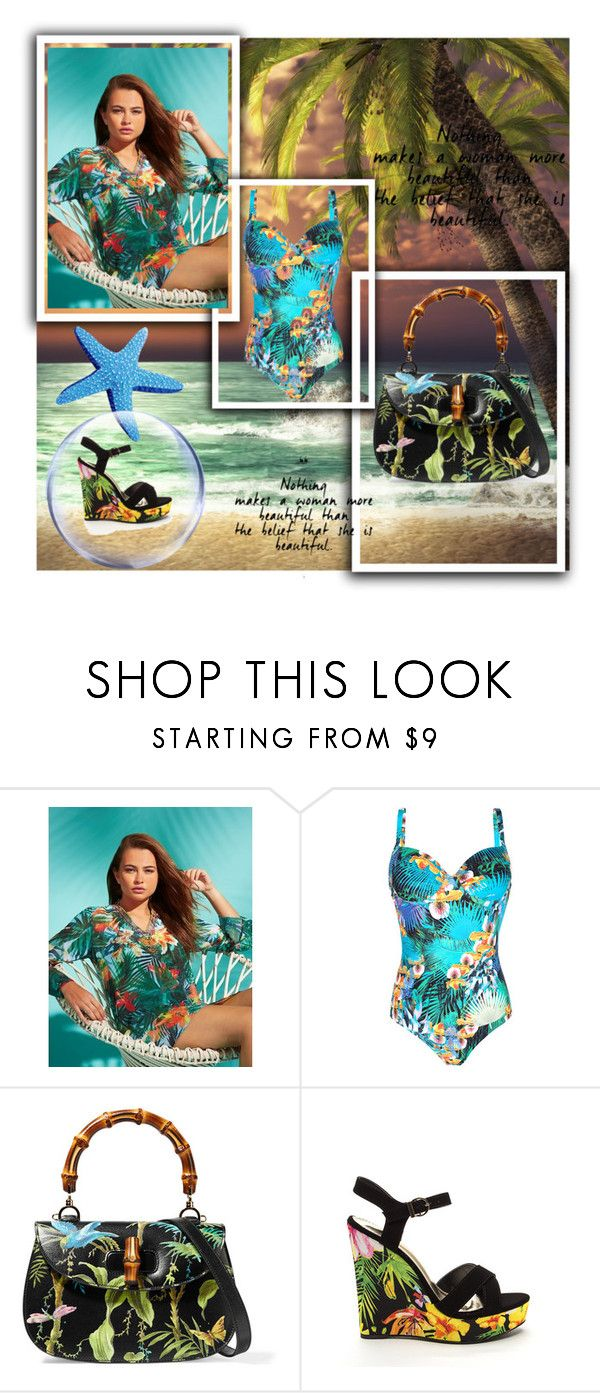 """Tropical Print"" by misisspoly ❤ liked on Polyvore featuring Lipsy and Gucci"