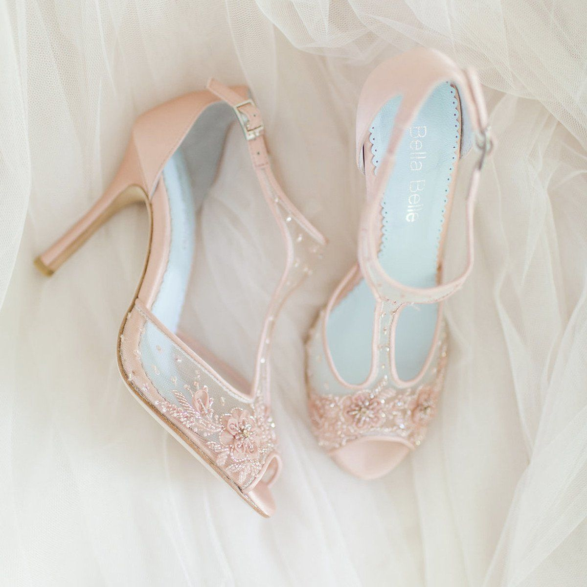 d985bf863b57 SIGN UP FOR RESTOCK ALERT! - Paloma Blush -  Eternal  bridal collection -  Romantic mesh heel with blush floral beading - Hand beaded and embroidered  ...