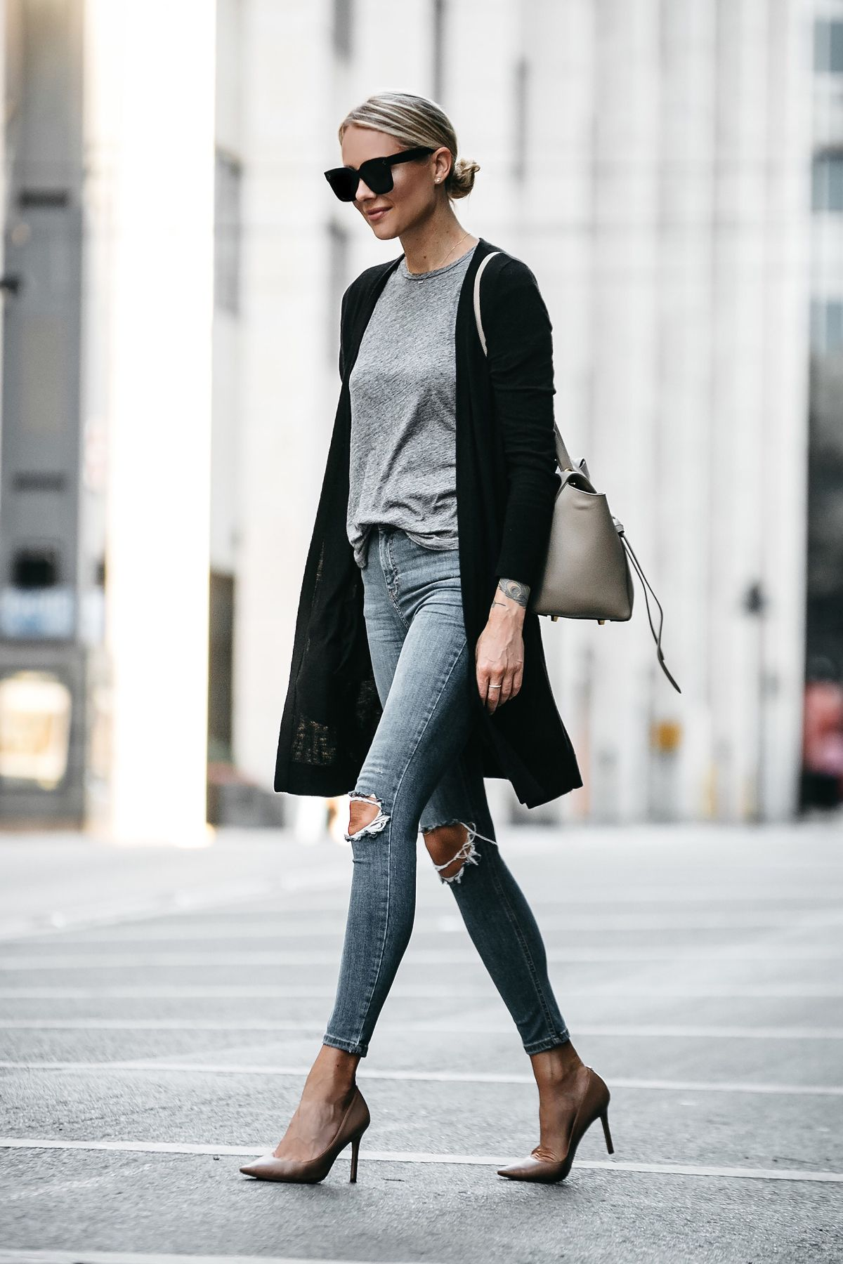 23525790a5 Blonde Woman Wearing Long Black Cardigan Grey Tshirt Topshop Ripped Skinny  Jeans Nude Pumps Outfit Celine Belt Bag Fashion Jackson Dallas Blogger  Fashion ...