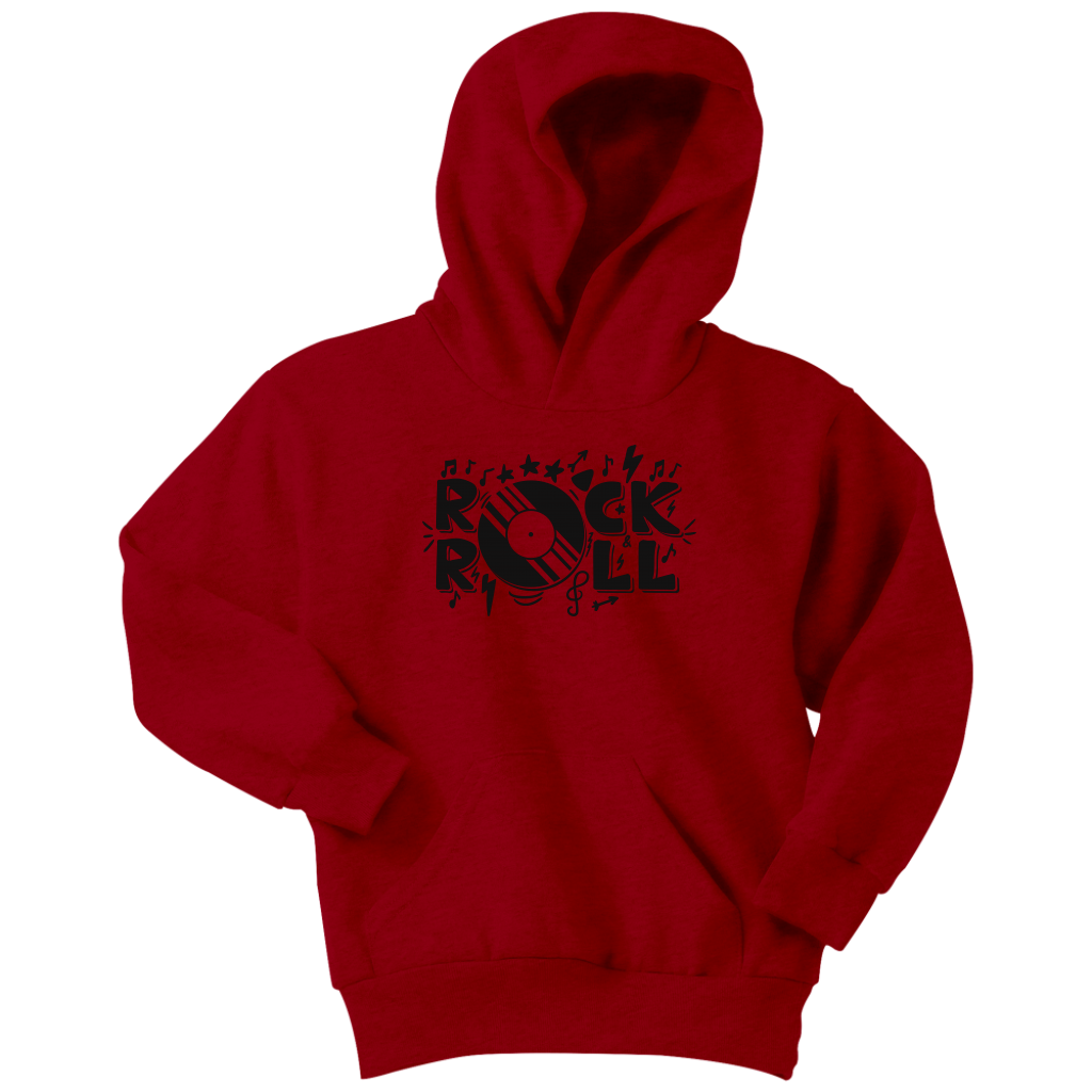 Kids always want to rock n roll! Grab this perfect cold weather hoodie today! Great for gifts or just cause!Cozy sweats in our core weight.7.8-ounce, 50/50 cotton/poly fleeceAir jet yarn for a soft, pill-resistant finish