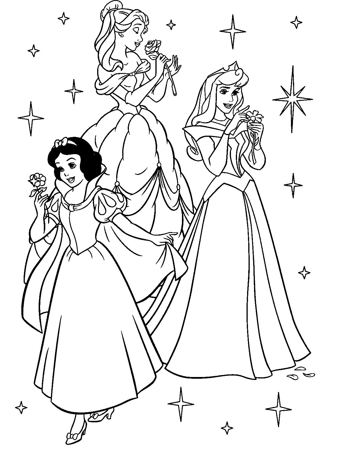 Three Disney Princess Greet Christmas Coloring Pages | Christmas ...