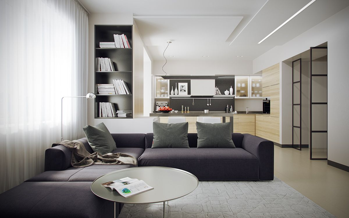 5 Ideas For A One Bedroom Apartment With Study Includes Floor Plans Interior Design Bedroom One Bedroom Apartment Living Room Interior