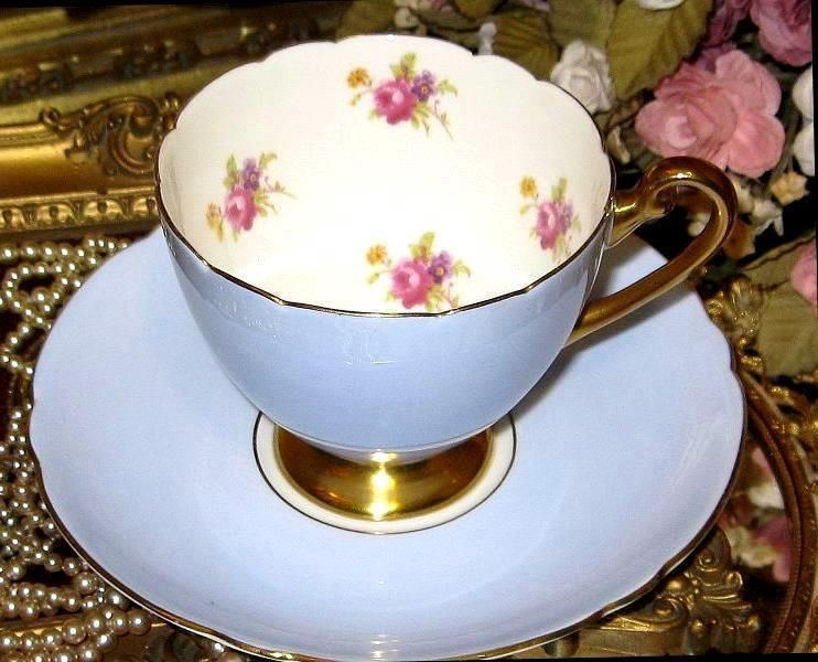 SHELLEY TEA CUP AND SAUCER VIOLETS PINK ROSE CHINTZ PERIWINKLE BLUE TEACUP