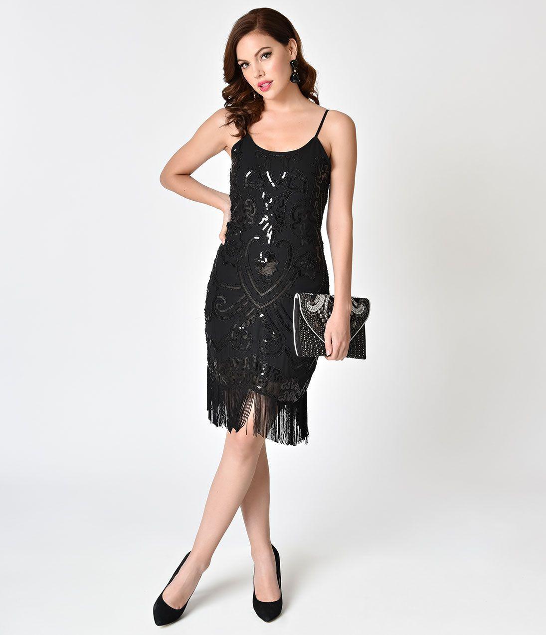 Unique vintage deco black beaded fringe aelita flapper dress