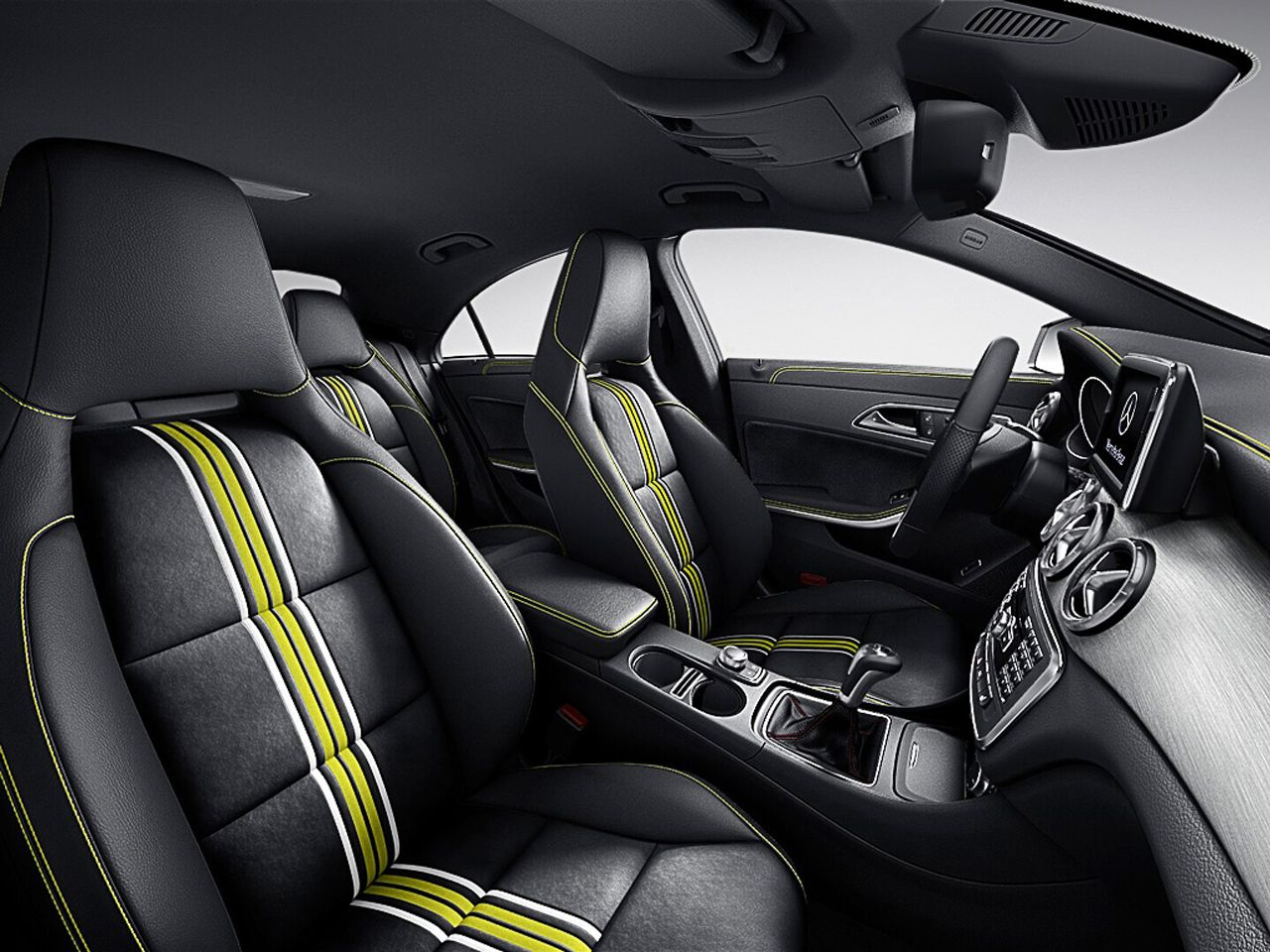 Mercedes CLA Edition 1 Interior With Black DINAMICA MB Tex With Green Piping
