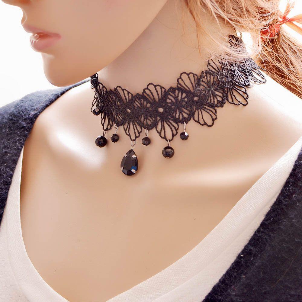 2016 nuova vendita calda delle donne di goccia dell'acqua pendente breve collana di pizzo fascia del collo regolabile nero choker della collana per le donne