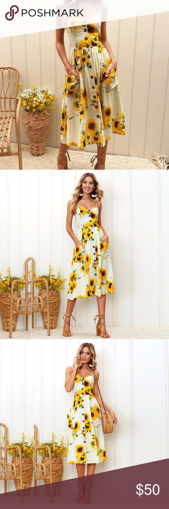 Ivory Sunflower Button Down Dress Printed Summer Dresses Boutique Dresses Clothes Design [ 1740 x 580 Pixel ]