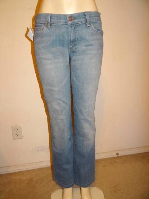 7 FOR ALL MANKIND Bootcut Jeans Light Blue Stretch Size 14 32 x 31.5 R ID: 16973 #7ForAllMankind #BootCut