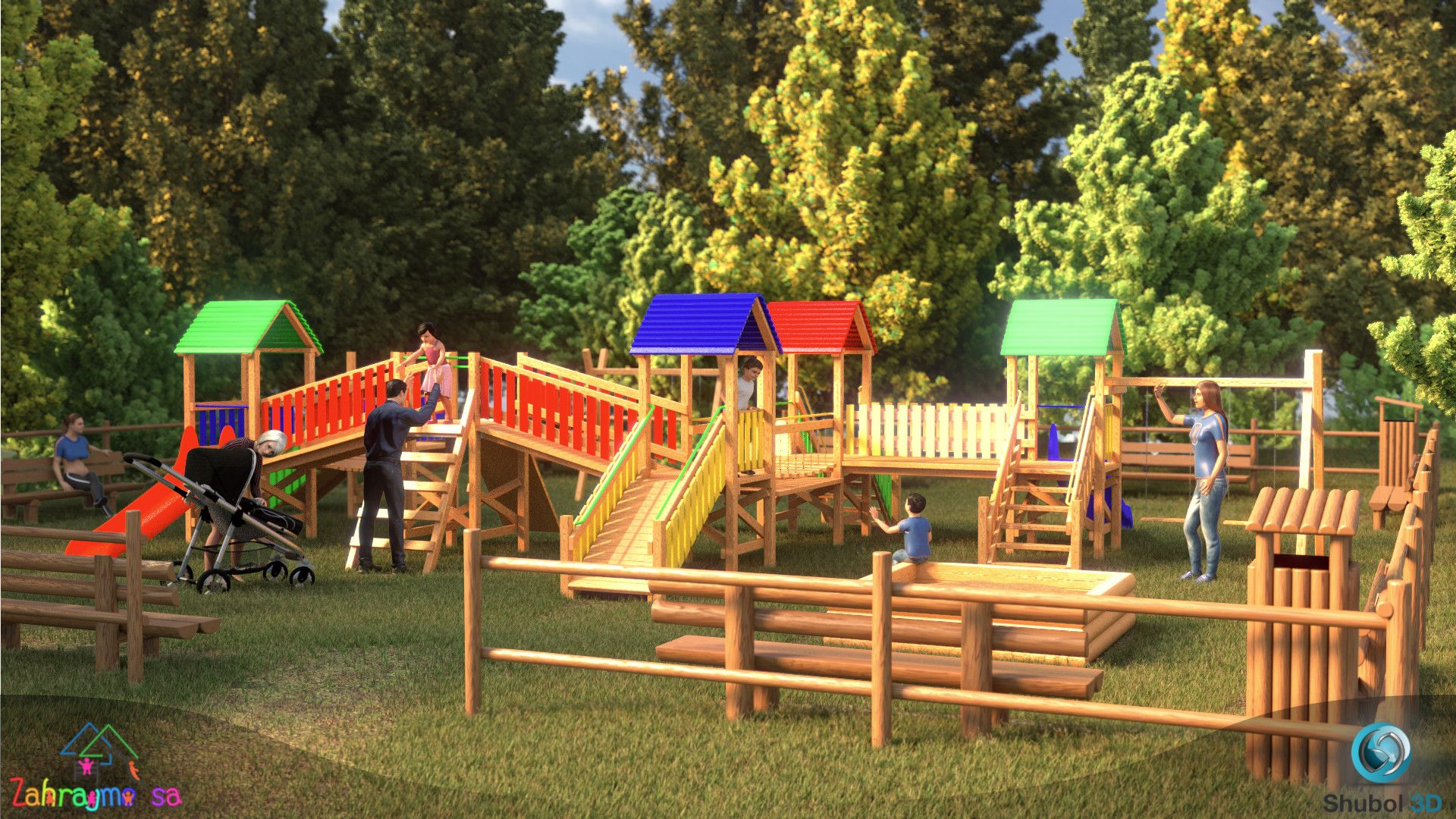 Wooden playground - 3D visualization