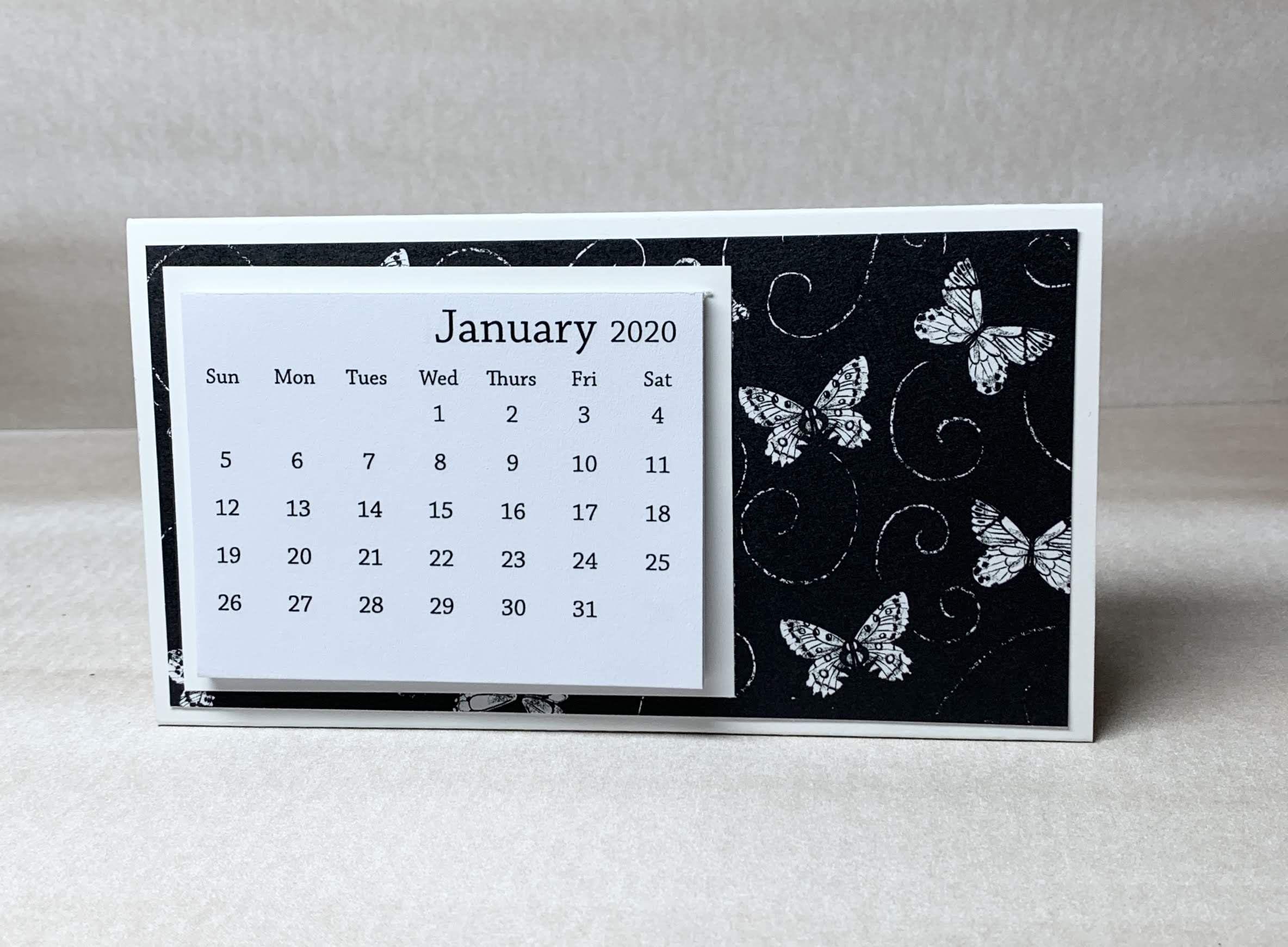 Mini desk calendar with butterflies small trifold tear