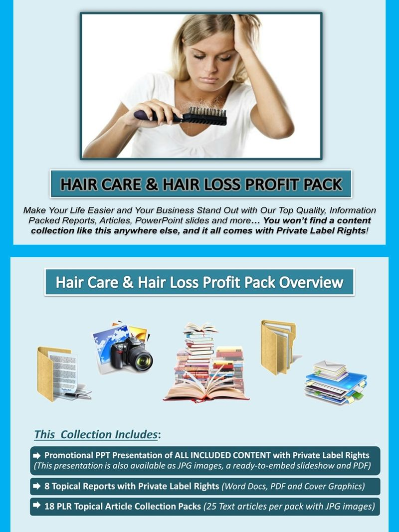 Hair Care and Hair Loss PLR Profit Pack Quality, value