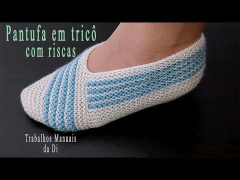 Photo of Knitted slipper with stripes