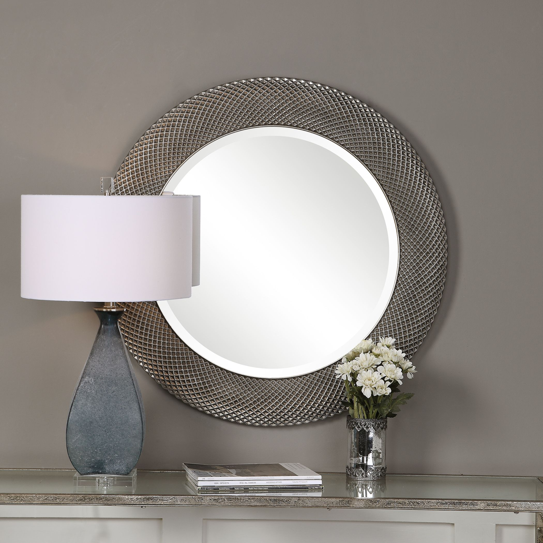 You Ll Love The Beautiful Textured Design On This Striking Wall Mirror Aziza Transitional Distressed Silver Round Wall Mir Mirror Round Mirrors Accent Mirrors
