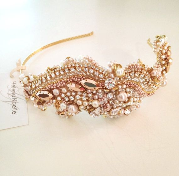 Custom Rose Gold and Blush Crystal Bridal by Helena Noelle Couture
