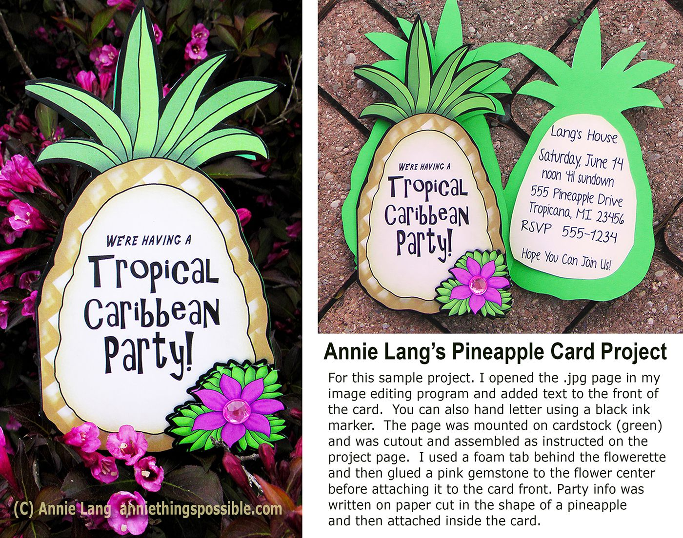 Caribbean Tropical Beach Party Menu: Printable Tropical Party Pineapple Invitations
