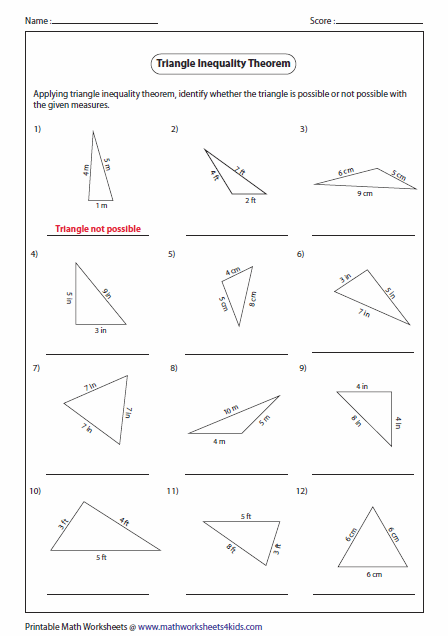 Pictures Triangle Inequality Worksheet - Kaessey | Triangle ...