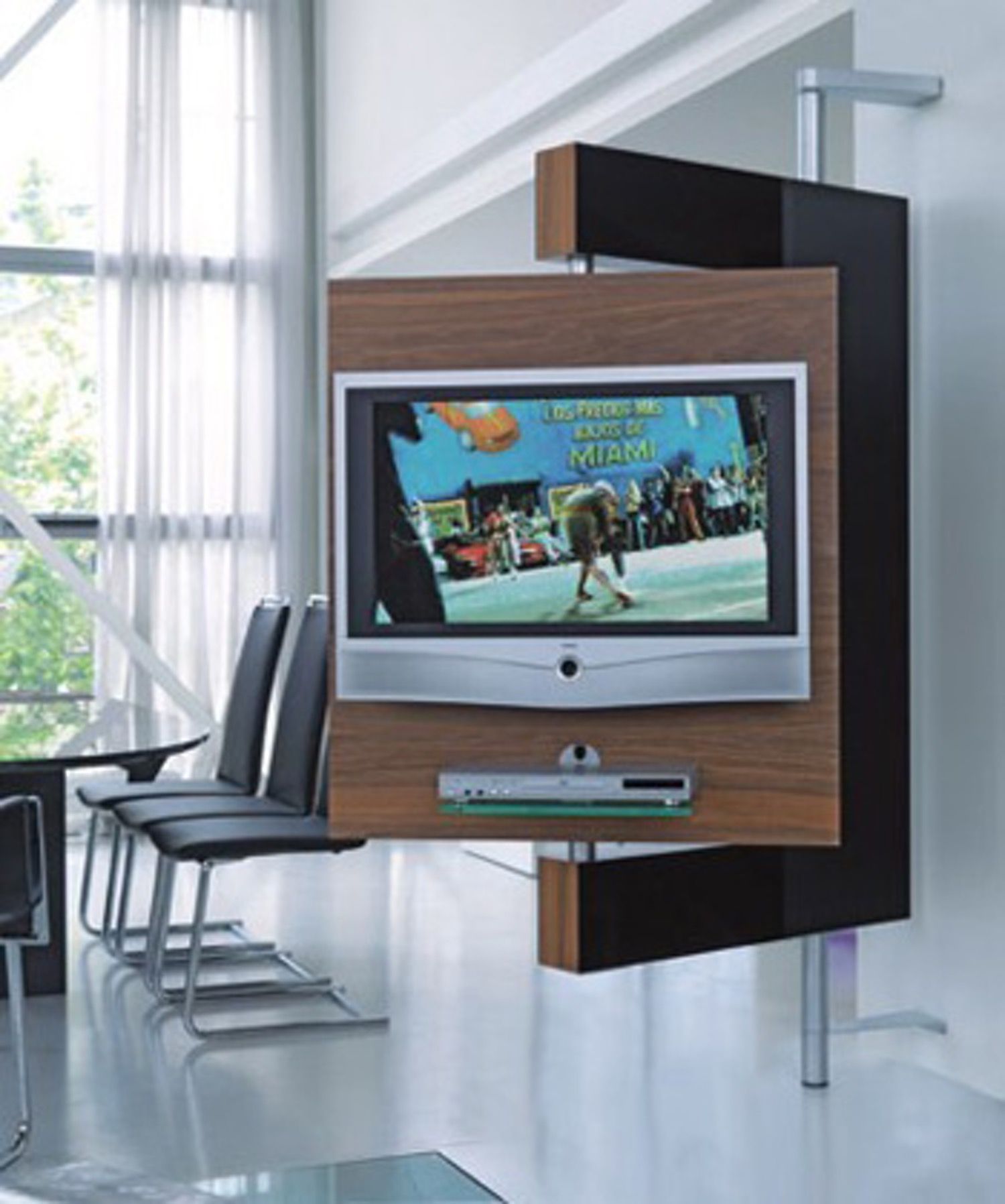 Diecollection S Media Stand Keeps Your Tv Upright And Doing The Twist Swivel Tv Tv Stand Designs Swivel Tv Stand