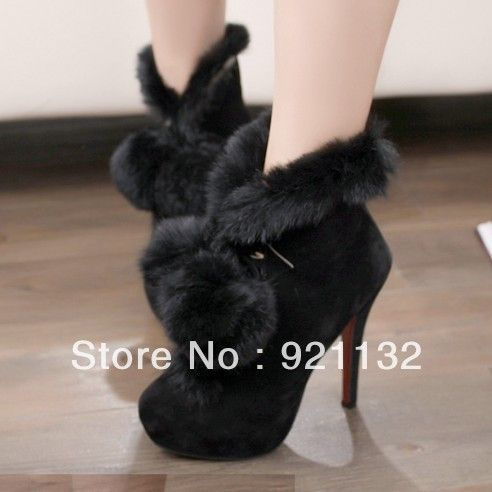 G982 40 Noble Luxurious Soft Delicate Rabbit Fur Pompon High heeled Pumps Ankle Boots Black/Red-in Boots from Shoes on Aliexpress.com