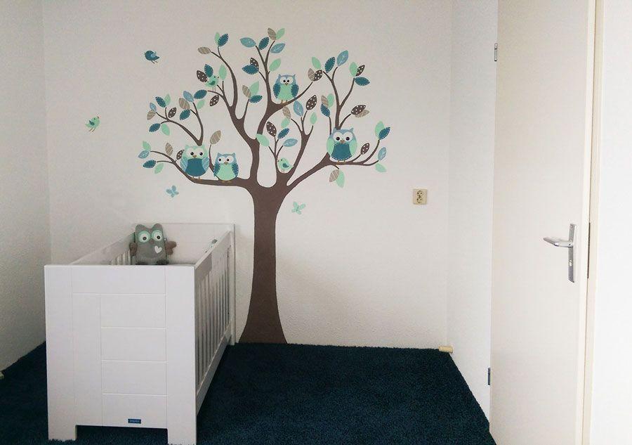 Boom babykamer jongen gemaakt door bim muurschildering mural painting tree nursery boy - Jongen babykamer ...