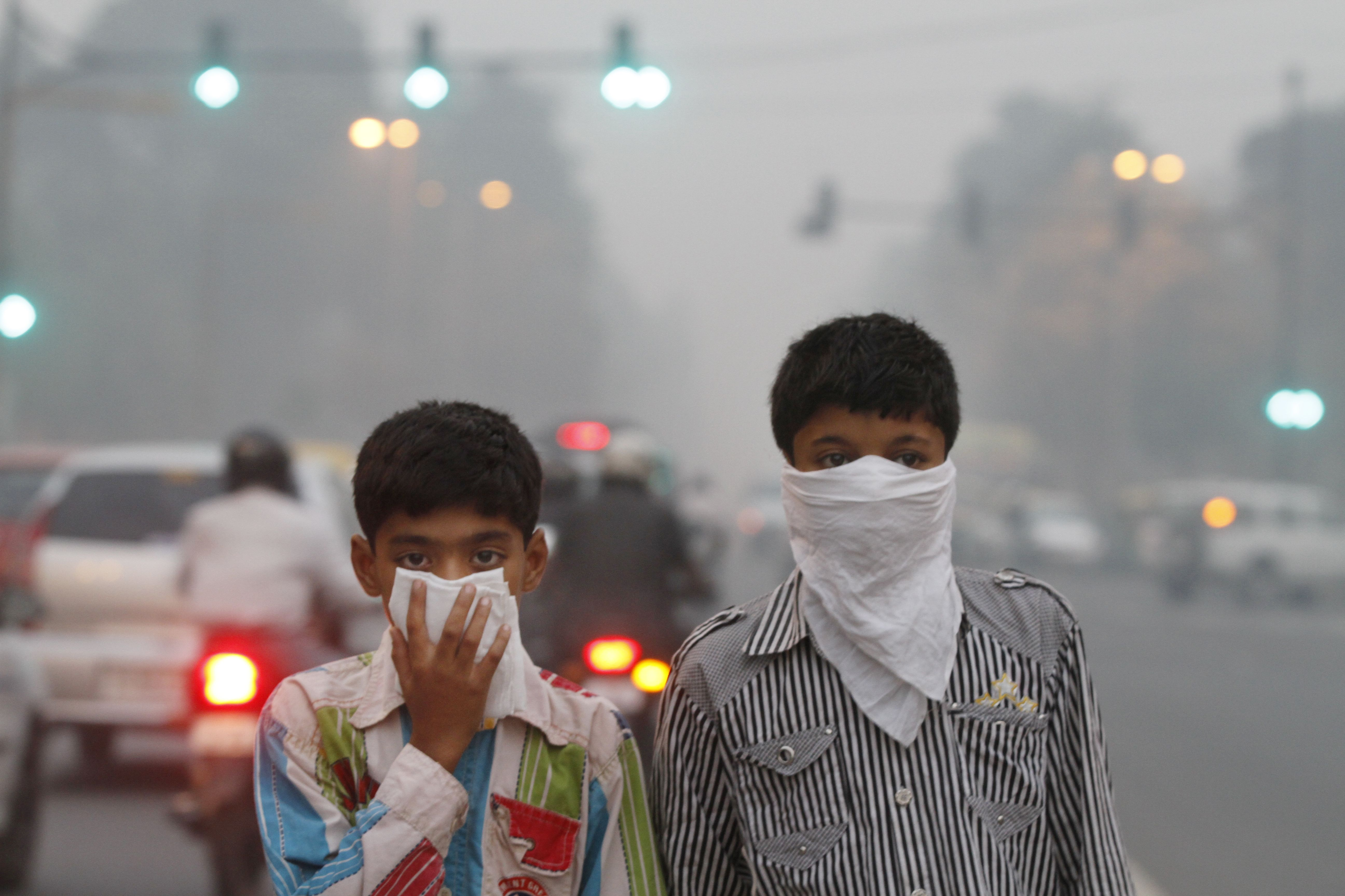 This is a picture of children wearing masks to protects