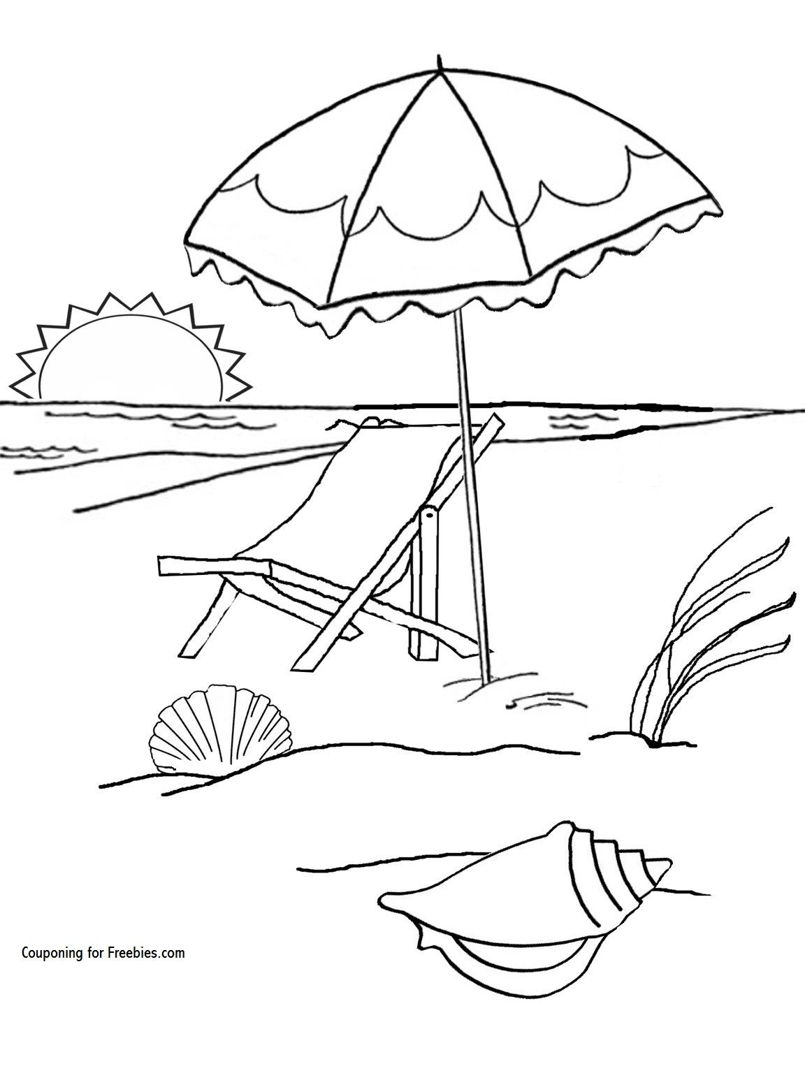 Free Summer At The Beach Coloring Page Beach Coloring Pages