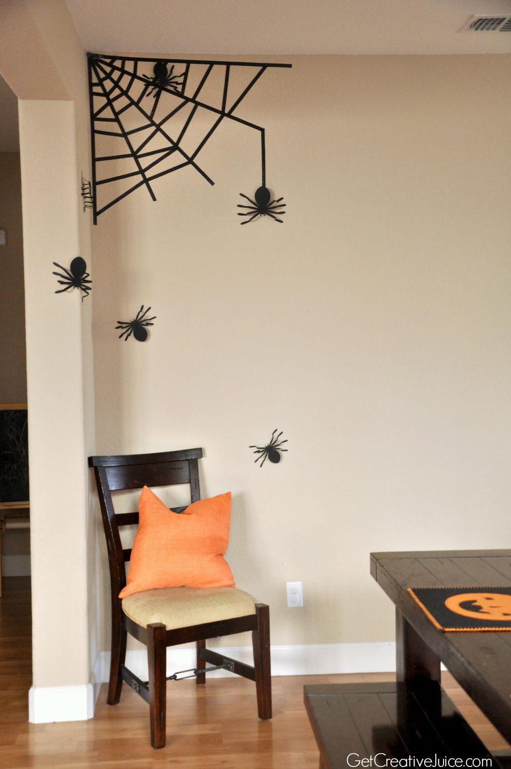 easy diy ideas for halloween decorations for your home washi tape spider web paper spiders easy tabletop decor halloween place settings - Cheap Halloween Decor