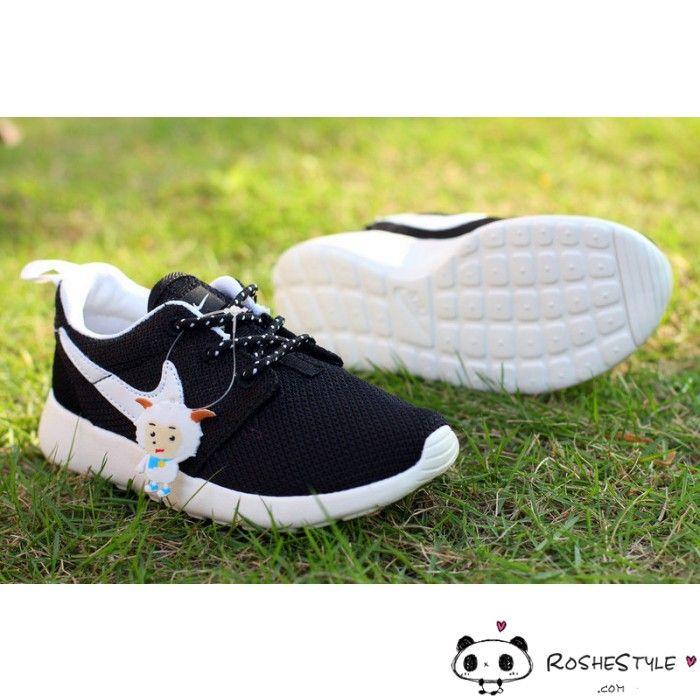 Radiant Kids Nike Roshe Run Black White
