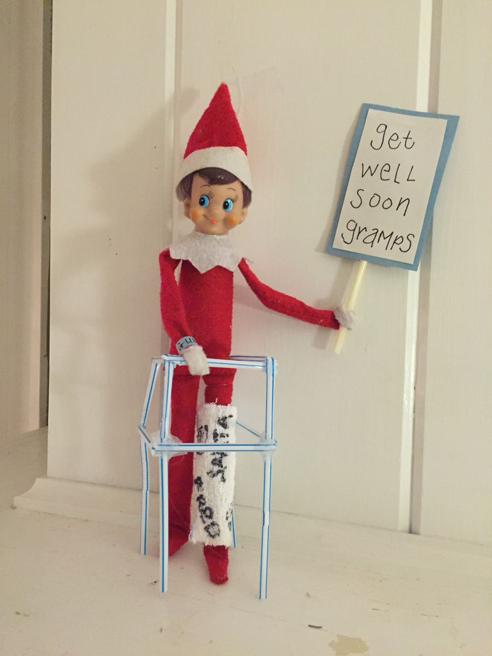 Elf in a cast with strict rules from Santa not to move for two weeks ...