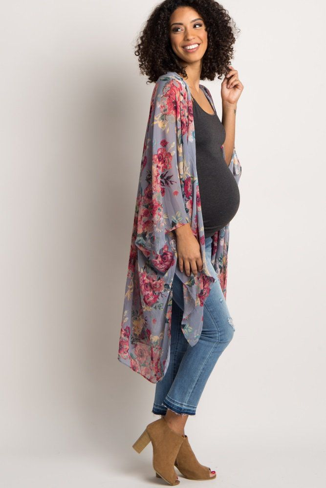 71b48dade361a A floral print long maternity kimono. Draped open front. Slit sides. This  style was created to be worn before, during, and after pregnancy.