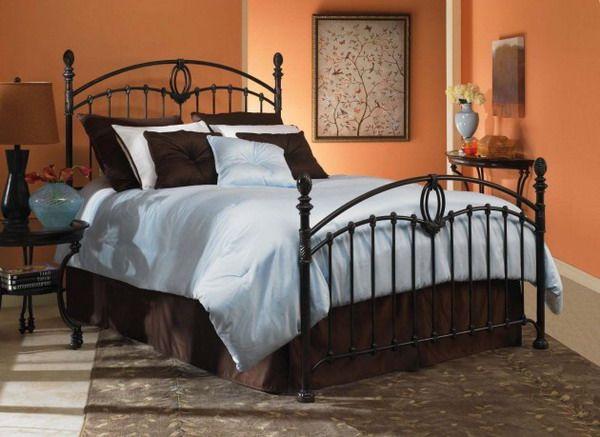 Orange Bedroom Color With Metal Bed Frame Bedroom Color Schemes