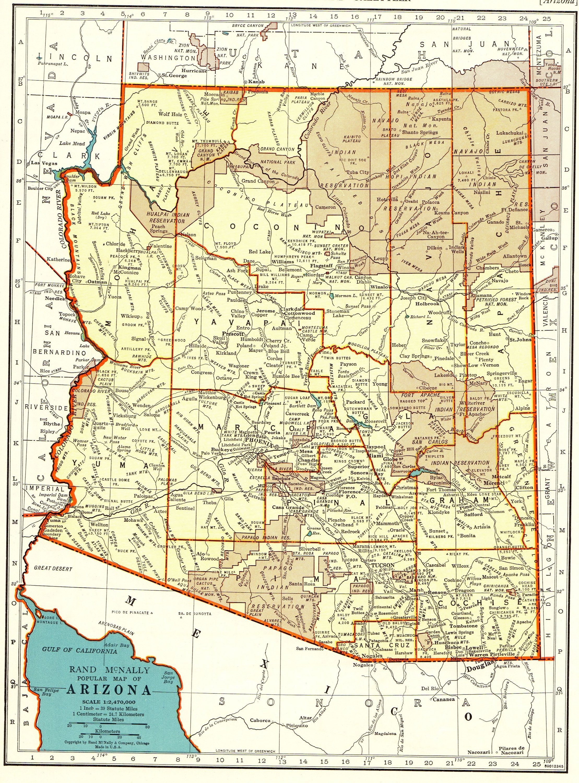 1942 Vintage Arizona State Map Of Arizona Gallery Wall Art Map Collector Gift For Traveler Wedding Anniversary Housewarmi Arizona Map Arizona State Map Map Art