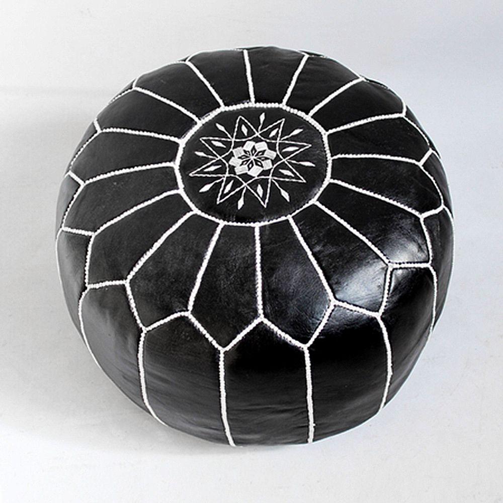 Fine Moroccan Leather Ottoman Pouf Black Leather Poof Stool Inzonedesignstudio Interior Chair Design Inzonedesignstudiocom