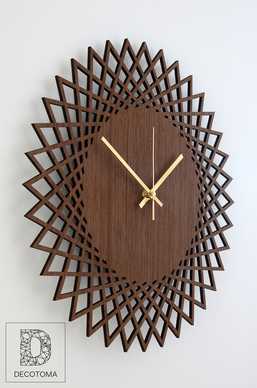 Large Wall Clock Wood Wall Clock Savanna Clock For Wall Wood Decor Geometric Modern Clock Living Room Clock Kitchen Clock Home Decor Scandinavian Clocks Minimalist Clocks Modern Clock