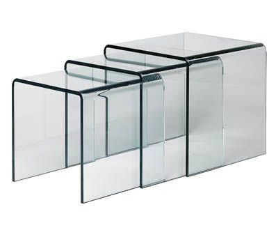 Set of 3 bent clear glass nesting tables furniture pinterest set of 3 bent clear glass nesting tables watchthetrailerfo