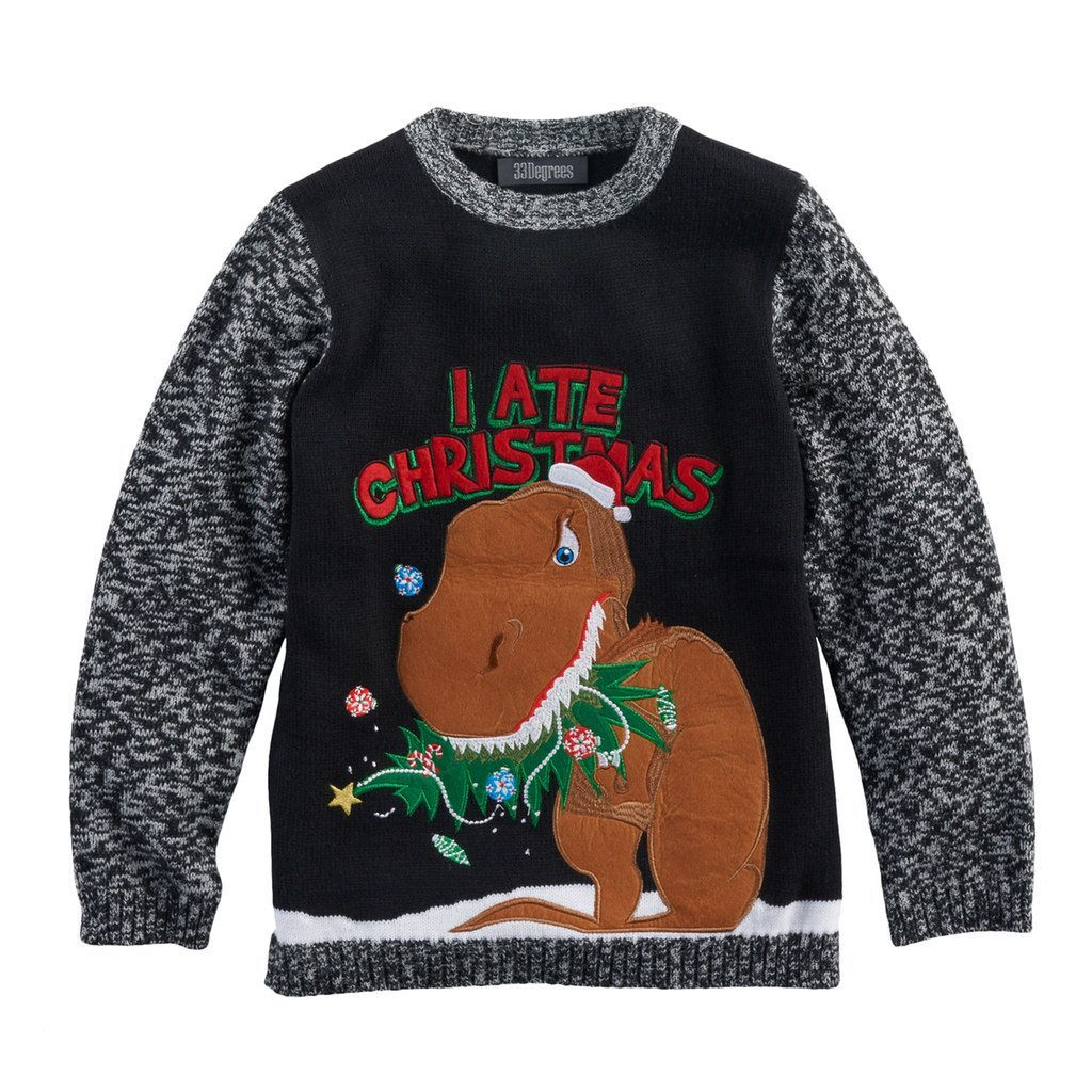 c6a24031e93b Boys 8-20 T-Rex Christmas Sweater