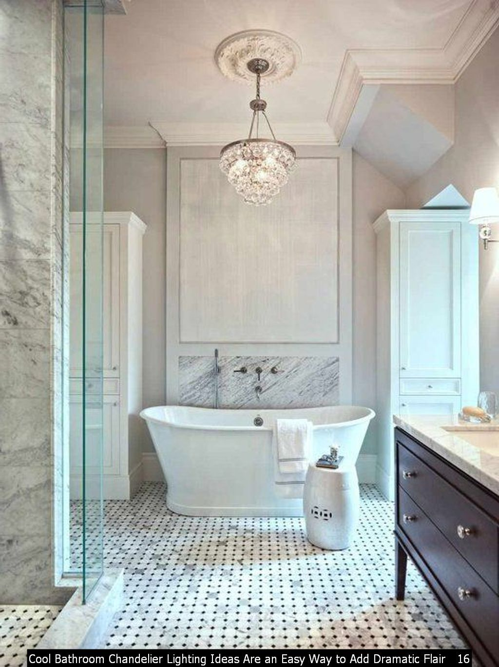 45 Cool Bathroom Chandelier Lighting Ideas Are An Easy Way To Add Dramatic Flair Trenduhome Bathroom Chandelier Lighting Bathroom Chandelier Small Bathroom Chandelier