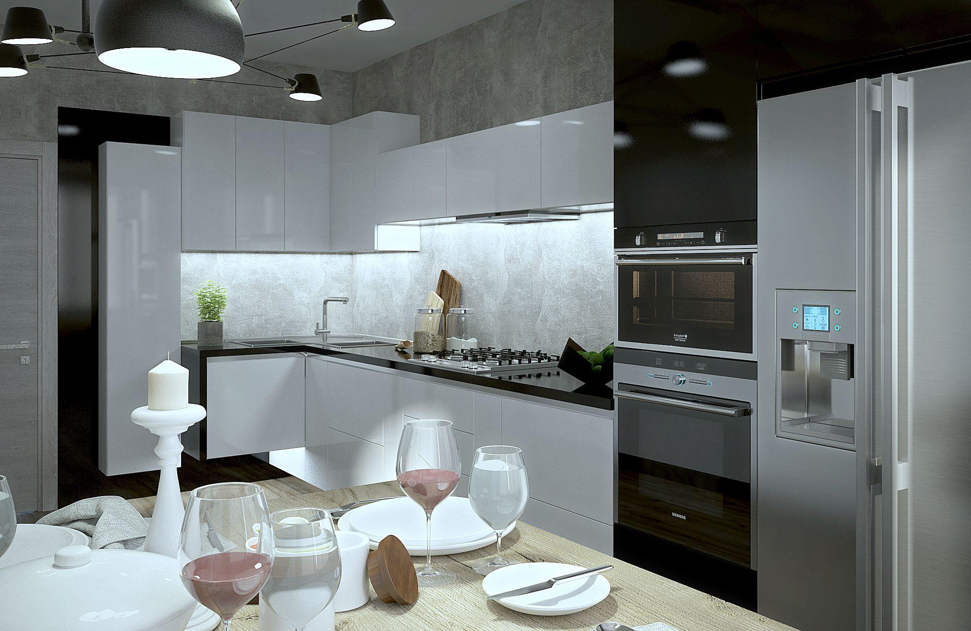 Ознакомьтесь с этим проектом @Behance: «Black & White Modern Kitchen ...