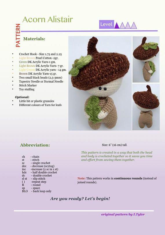 Acorn Crochet Pattern Amigurumi Doll Acorn Alistair | Etsy