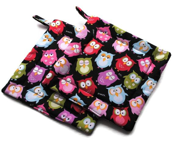 Hey, I found this really awesome Etsy listing at https://www.etsy.com/listing/64173073/handmade-quilted-pot-holders-owl-set-of
