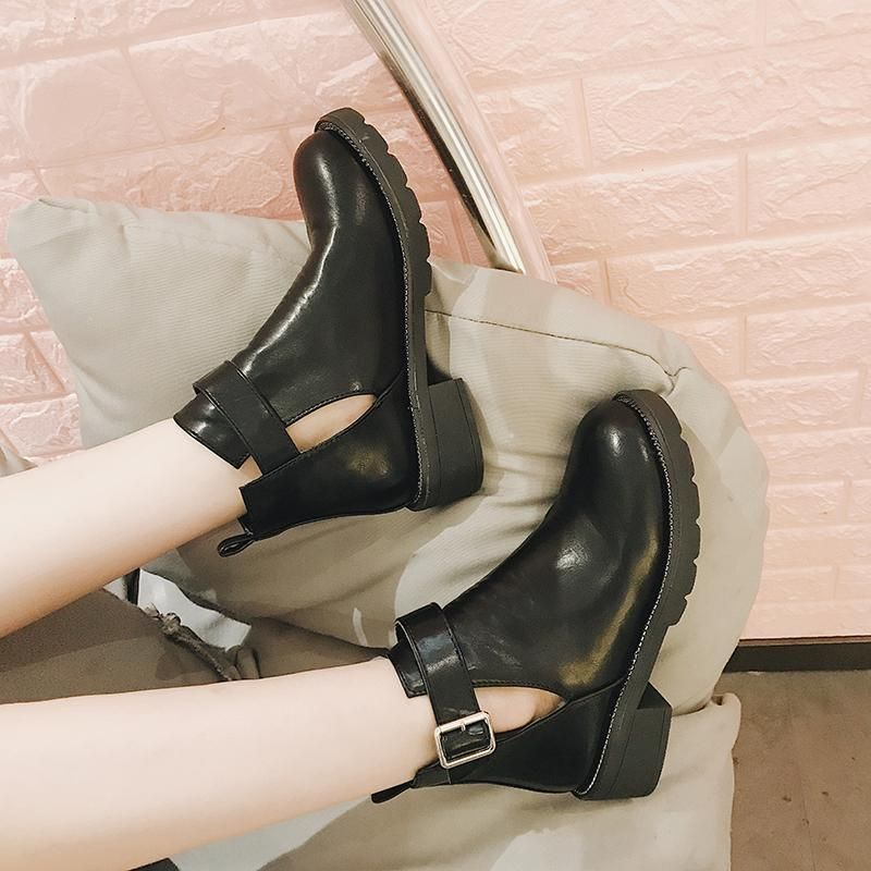 ed67174800f itGirl Shop CUT OUT ANKLE HOLES CLOSED TOE BLACK FLAT BOOTS Aesthetic  Apparel