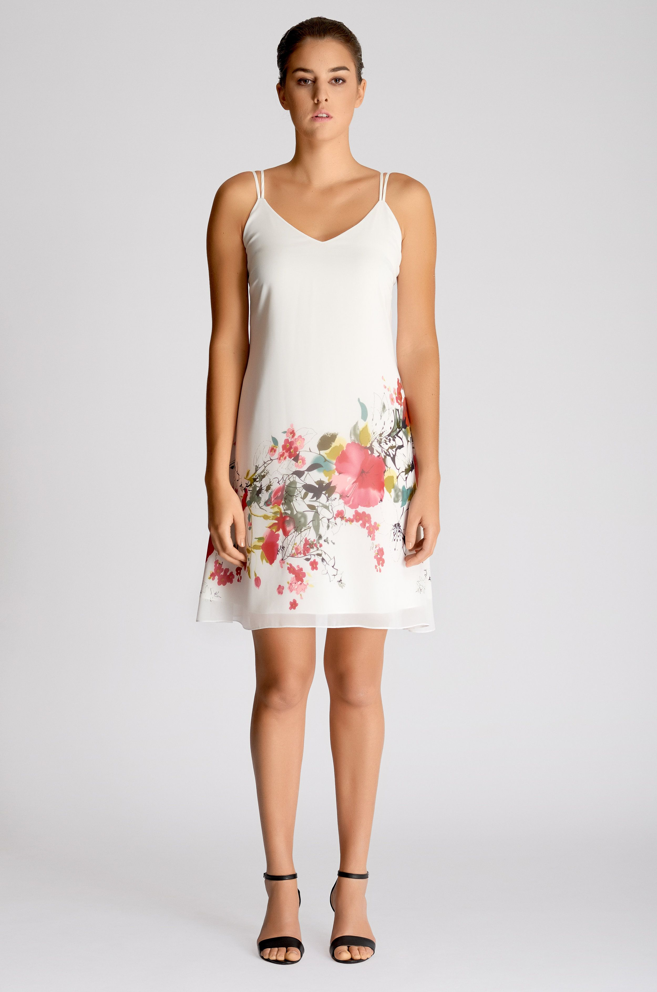 76f0c2e2f871 WHITE STRAPPY HAND-PAINTED FLORAL SHIFT DRESS  245.00