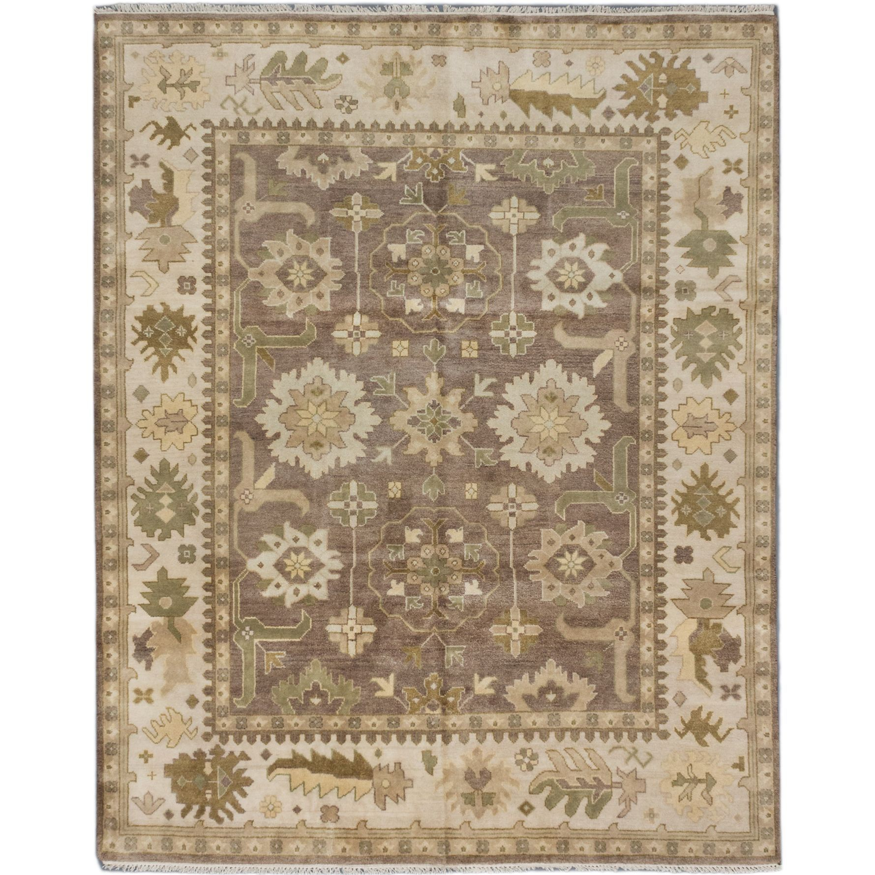 Ecarpetgallery Royal Ushak Brown Wool Rug 8 0 X 10 0 Brown Dark