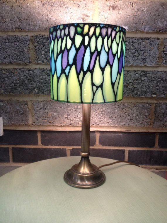 Tiffany style hand silk painted lamp shade with brass base shop for lamp shade on etsy the place to express your creativity through the buying and selling of handmade and vintage goods mozeypictures Image collections